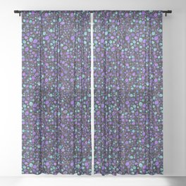 Tangle of Leaves - Blue Violet Dark Sheer Curtain