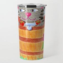 Tabby cat in an apple basket Travel Mug