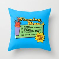 simpsons Throw Pillows featuring The Simpsons: Flaming Moe by dutyfreak