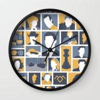 twin peaks Wall Clocks featuring Twin Peaks by Bill Pyle