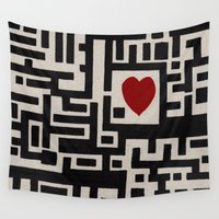 labyrinth Wall Tapestries featuring Love Labyrinth by Barruf designs