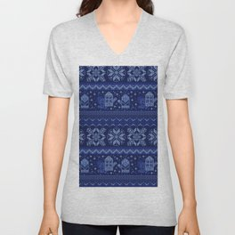 Christmas knitted pattern Unisex V-Neck