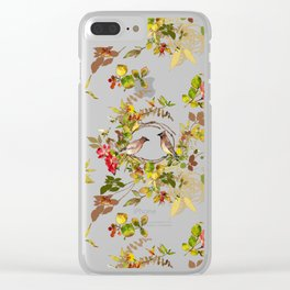 Pink Roses & Birds on a Branch Clear iPhone Case