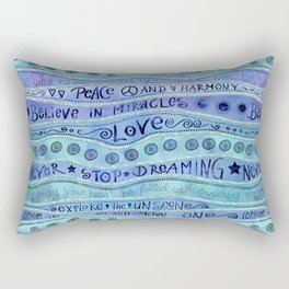 Inspirational Lettering Design In Shades Of Blue Rectangular Pillow