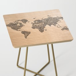 Henna Ink World Map Side Table