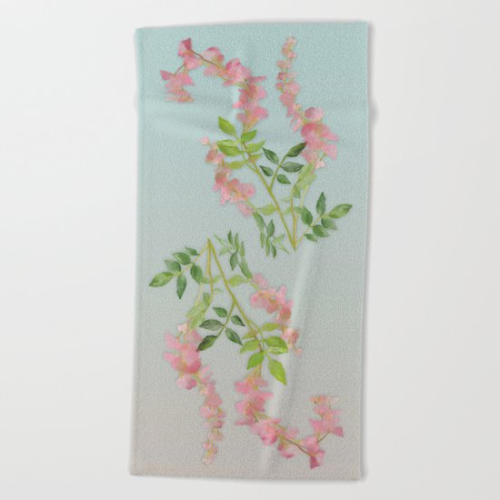 Pink Tiny Flowers Beach Towel