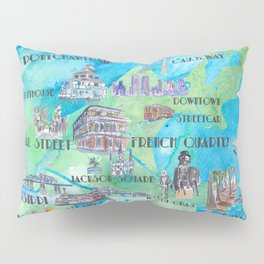 New Orleans Louisiana Favorite Travel Map with Touristic Highlights in colorful retro print Pillow Sham