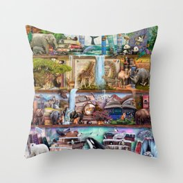 The Amazing Animal Kingdom Throw Pillow