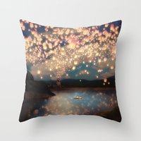 little mix Throw Pillows featuring Love Wish Lanterns by Paula Belle Flores