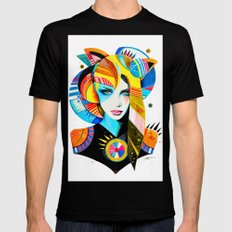 -Native Girl- MEDIUM Mens Fitted Tee Black