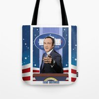house of cards Tote Bags featuring House of Cards: Frank Underwood USA President by Akyanyme