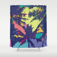 palm tree Shower Curtains featuring Palm tree by PINT GRAPHICS