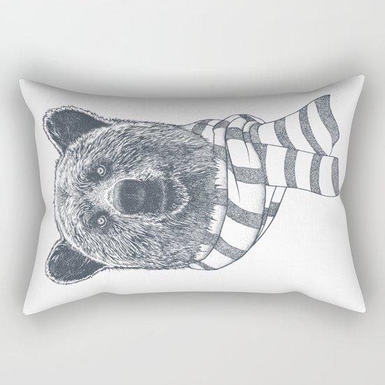 Winter Bear Drawing Rectangular Pillow