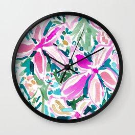 PLUMERIA PARADISE Tropical Floral Wall Clock