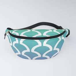 Classic Fan or Scallop Pattern 466 Green Blue and Lavender Fanny Pack