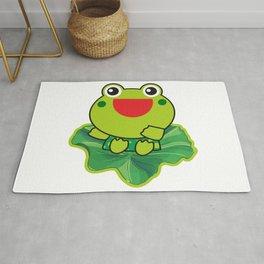 cute happy kero kerompa frog frogy Rug