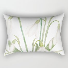 white snowdrop flower watercolor Rectangular Pillow