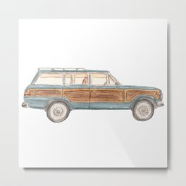 Jeep Grand Wagoneer Station Wagon Teal, Mint, Aqua Metal Print