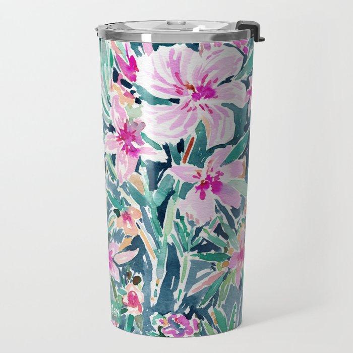 LUSH OLEANDER Tropical Watercolor Floral Travel Mug