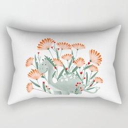 Floral dinosaur illustration  Rectangular Pillow