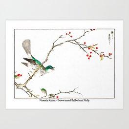 Numata Kashu Brown eared Bulbul and Holly Art Print