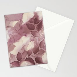 Burgundy Leaves in Shadows Stationery Cards