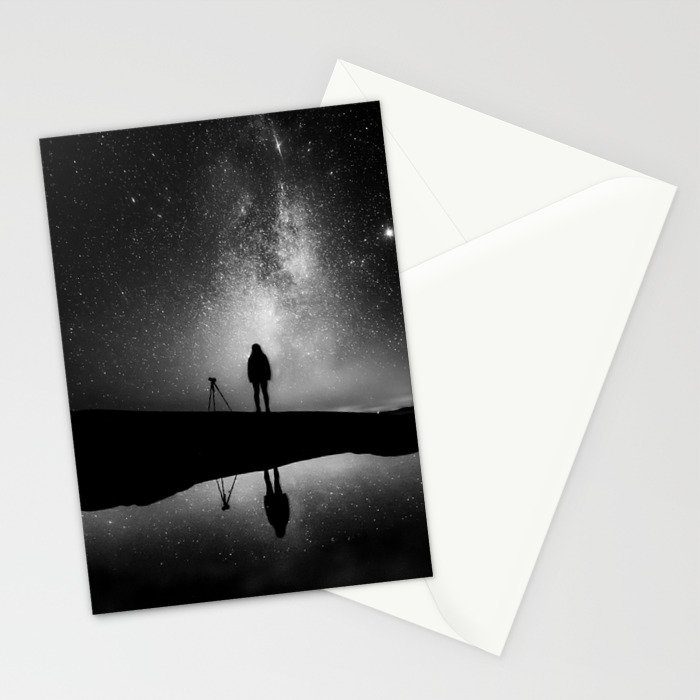 Finland and Galaxy (Black and White) Stationery Cards