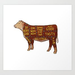 Cow Cuts Art Print