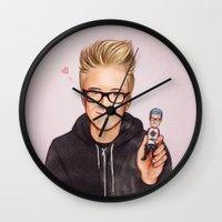tyler spangler Wall Clocks featuring Tyler Oakley by The Art Of Dreams