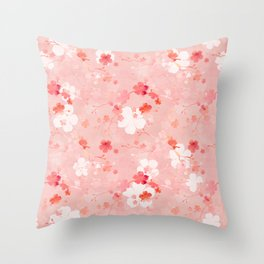 Peach pink Chinese cherry blossom Throw Pillow