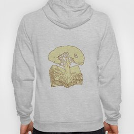 Oak Tree Rooted on Book Drawing Hoody