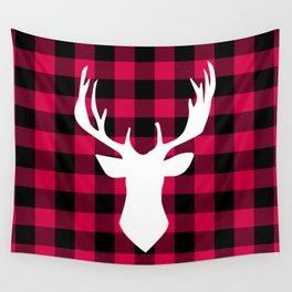 Winter Plaid Deer Wall Tapestry