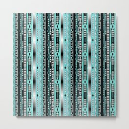 Abstract ethnic pattern in turquoise , black and white . Metal Print