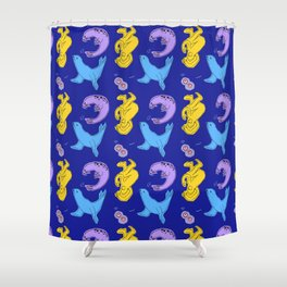 Seals on a Blue Background Shower Curtain
