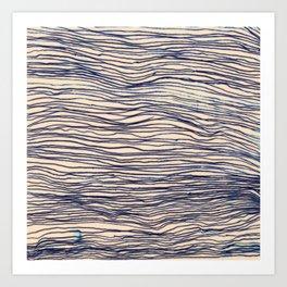 Writer's Block - wavy indigo / navy lines Art Print