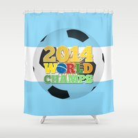 argentina Shower Curtains featuring 2014 World Champs Ball - Argentina by crouchingpixel