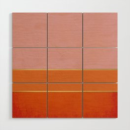 Orange, Pink And Gold Abstract Painting Wood Wall Art