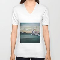 istanbul V-neck T-shirts featuring Ferry İstanbul by ArtSchool