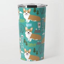 Corgi seattle washington welsh corgi pattern print dog lover gifts space needle ferris wheel coffee Travel Mug