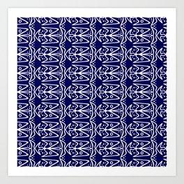 Bluebirds in Flight Bright White Wings on Midnight Blue Stylized Abstract Spirit Organic Art Print