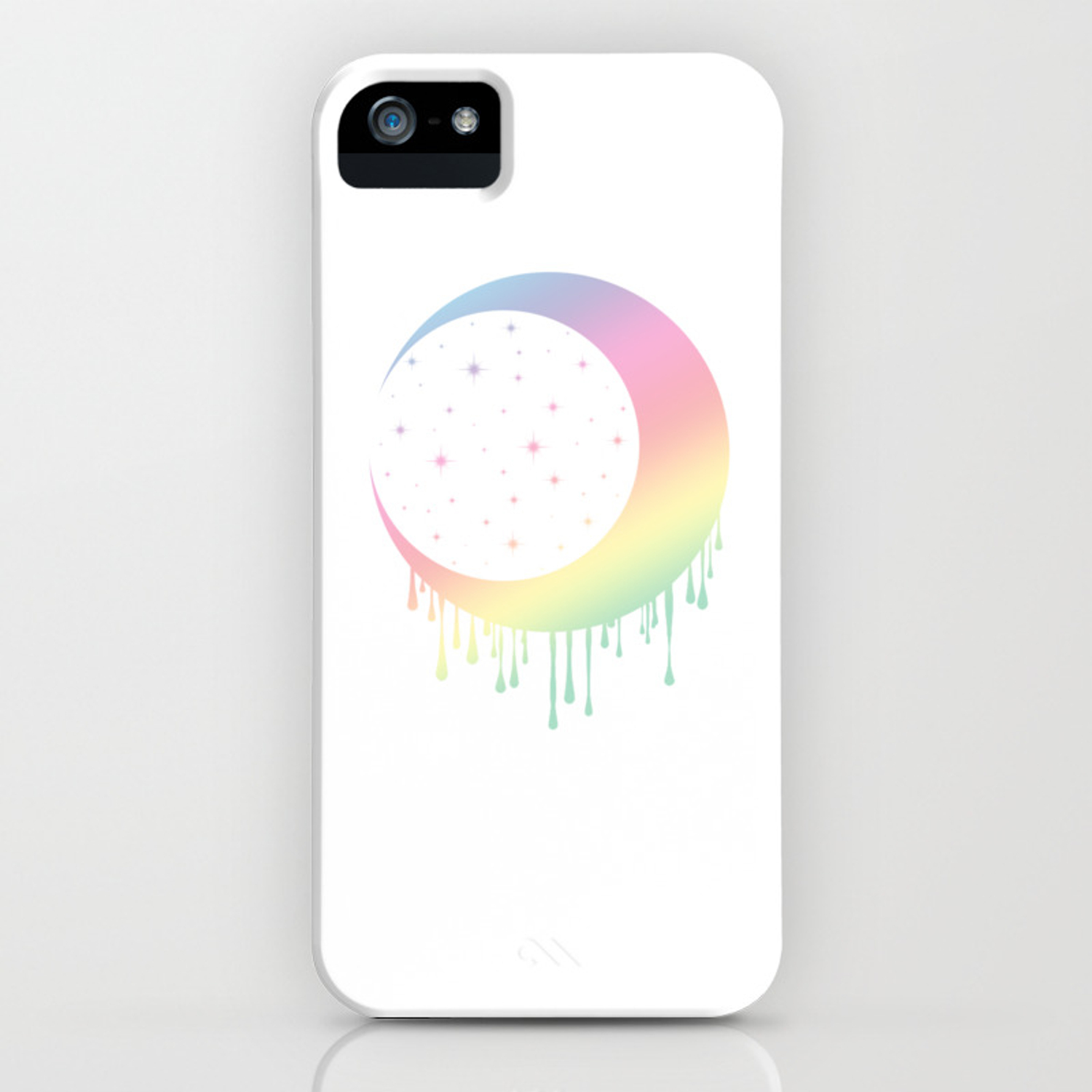 Pastel Rainbow Moon iPhone Case