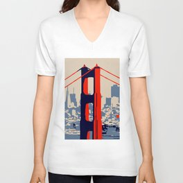 Golden gate bridge vector art Unisex V-Neck
