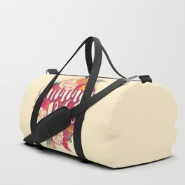 Summer vibes typography banner round design in tropical flower frame 001 Duffle Bag