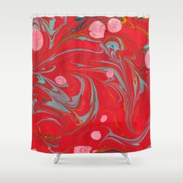 Red Marbled Shower Curtain