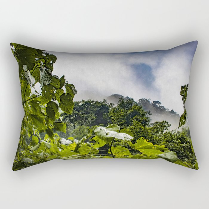 View through the Mist of the Cloud Forest in the Chocoyero-El Brujo Nature Reserve, Nicaragua Rectangular Pillow
