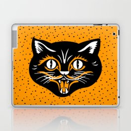 Vintage Type Halloween Black Cat Face Stars Orange Laptop & iPad Skin