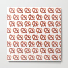 Pretzel watercolor pattern Metal Print