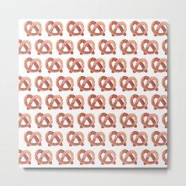 Pretzel watercolor pattern Metal Print