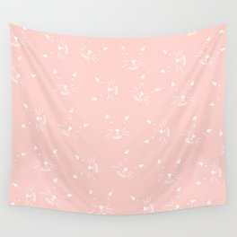 Cute girly hand drawn abstract cat face on pastel pink Wall Tapestry