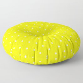 Small White Polka Dots with Yellow Background Floor Pillow